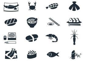 Pacote de vetor de ícone de frutos do mar