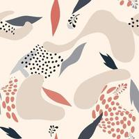 floral pontilhado padrão sem emenda com folhas queda natureza ornamental textura desenhada florescer jardim cenário abstrato com pontos caóticos desenhado à mão fundo pontilhado para tecido embrulhar presente parede arte design vetor