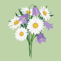 flores isoladas sobre fundo verde claro floral de verão buquê de campânula selvagem e flores de camomila decoração de verão vetor