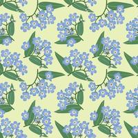 floral sem costura padrão flor esqueça-me, não prado textura ornamental flores silvestres fundo de verão vetor