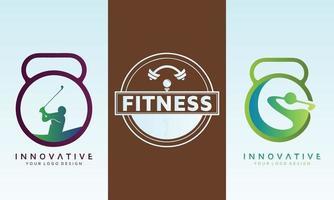 conjunto de design de logotipo de vetor de aptidão
