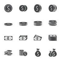 ícones de dinheiro assinam ilustração vetorial vetor