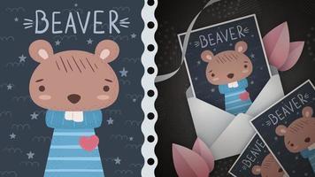 castor de roedor com ideia de coração para cartão de felicitações vetor