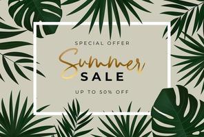 cartaz de venda de verão. fundo natural com folhas de palmeira tropical. vetor