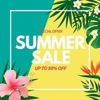 Cartaz de venda de verão com fundo natural com palmeira tropical e folhas de monstera e flores exóticas vetor