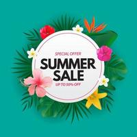 Cartaz de venda de verão com fundo natural com palmeira tropical, folhas de monstera e flores exóticas vetor