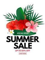 Cartaz de venda de verão com fundo natural com palmeira tropical e flores exóticas de folhas Monstera vetor