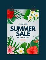 cartaz de venda de verão. fundo natural com folhas de palmeira tropical, plumeria exótica e flor de hibisco vetor