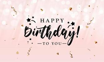 feliz aniversário, parabéns banner design com confete e fita brilhante e glitter para fundo de festa e feriado vetor