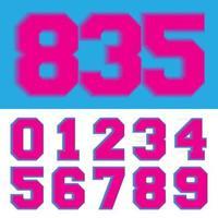 número retro 0 1 2 3 4 5 6 7 8 9 ilustração em vetor estilo vintage neon