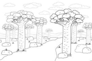 preto e branco contorno do vetor africano madagascar baobab rua ou avenida doodle desenho animado mão desenhada paisagem ilustração de árvores céu estrada plantas africanas arbustos nuvens grama para livro de colorir