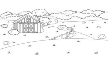 preto branco monocromático cartoon doodle vetor verão bonito ou primavera fazenda no campo vermelho celeiro cerca campos e árvores arbustos e plantas para animais vida fundo livros para colorir