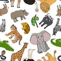 padrão sem emenda de desenho vetorial esboço savana animais tigre leão rinoceronte comum javali búfalo africano tartaruga camaleão zebra avestruz elefante girafa crocodilo cobra para crianças vetor
