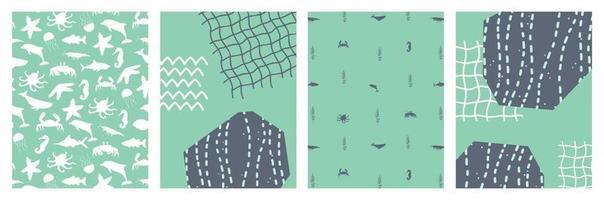 conjunto de abstratos oceanos mar pôsteres com desenhos animados silhueta peixes polvo caranguejo baleia stingray baleia estrela do mar algas plantas aquáticas ilustração vetorial banner cartão postal vetor