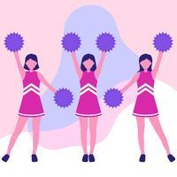 Cheerleader Girls In Action Ilustração de personagem de desenho animado vetor