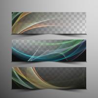 Conjunto de bandeiras modernas onduladas abstratas vetor