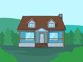 Vetores de aguarela exterior única casa
