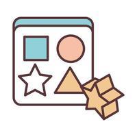 figuras geométricas de brinquedo de bebê objeto linha de modelo recém-nascido e ícone de design de preenchimento vetor