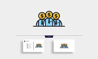 equipe de negócios trabalho desenho de ícone de vetor de dólar