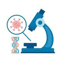 partícula covid19 no ícone de estilo plano microscópio e molécula de DNA vetor