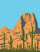 cacto saguaro com pico de colmeia nas montanhas tucson localizado dentro do parque nacional saguaro no arizona arte do pôster wpa vetor