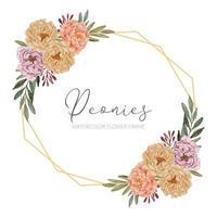 lindo arranjo de flores em aquarela de peônia quadro rústico vetor