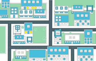 Vetorial, vista superior, cidade, ilustração vetor