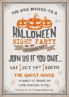 Convite de festa de noite de Halloween com design assustador de abóboras vetor