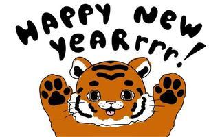 Doodle fofinho tigre bebê animais com ilustração de criança texto de rugido de feliz ano novo para calendário de cartaz vetor