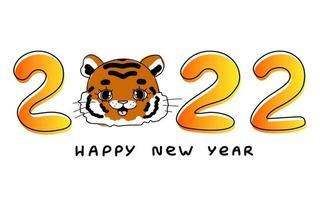 feliz ano novo laranja 2022 logotipo tigre projeto cartaz texto ilustração vetorial com linha preta isolada em fundo transparente para calendário vetor