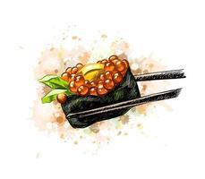 Caviar vermelho gunkan sushi de um toque de aquarela desenho desenhado à mão ilustração vetorial de tintas vetor