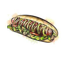 cachorro-quente com um toque de aquarela desenhado à mão desenho ilustração vetorial de tintas vetor
