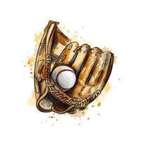 luva de beisebol com a bola de um toque de aquarela desenho desenhado a mão ilustração vetorial de tintas vetor