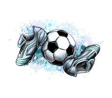 botas de futebol com a bola de um toque de aquarela desenho desenhado à mão ilustração vetorial de tintas vetor