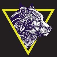 vetor de desenho de tatuagem de lobo