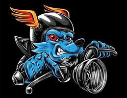 lobo motociclista corrida de velocidade vetor