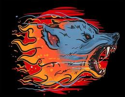 lobo fogo besta selvagem vetor