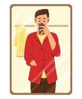 homem ajustando as roupas e tirando uma foto de selfie com o celular em frente ao espelho vetor
