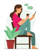 mulher está conversando no celular e aproveitando o estilo de vida vetor