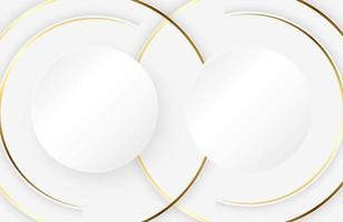 fundo branco moderno com elemento de círculo de ouro brilhante abstrato luz prata superfície limpa vetor