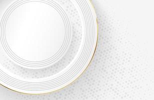 fundo branco moderno com elemento de círculo dourado brilhante vetor