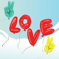 Paz e Design de vetor de balão de amor