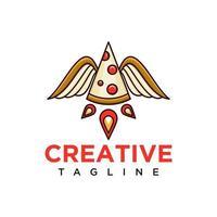 logotipo da pizza com vetor de design de conceito de foguetes