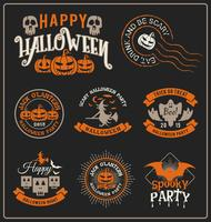 Crachá de Halloween e coleção de etiqueta autocolante vetor