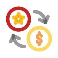 ficha de cassino com setas e estilo de linha de multiplicação de moedas vetor
