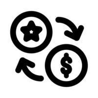 ficha de cassino com flechas e estilo de linha de moeda vetor