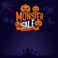 Emblema de venda de monstro Halloween e plano de fundo vetor