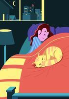 Menina e seu gato dormindo vetor