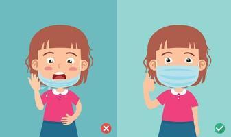 errado e certo usando a máscara para evitar o vetor de ilustração de infecção