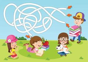 jogo educacional de labirinto para ilustração infantil vetor